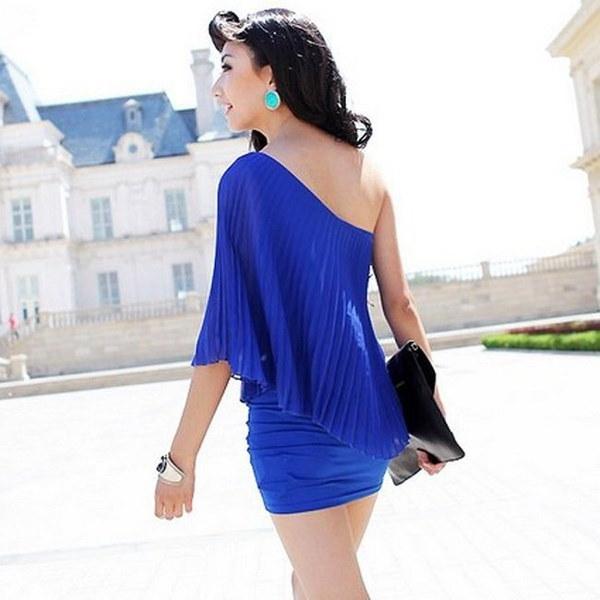 ファッションセクシーなミニドレスワンショルダーカクテルクラブウェアミニ鉛筆シフォンRoyalblueプリーツドレス