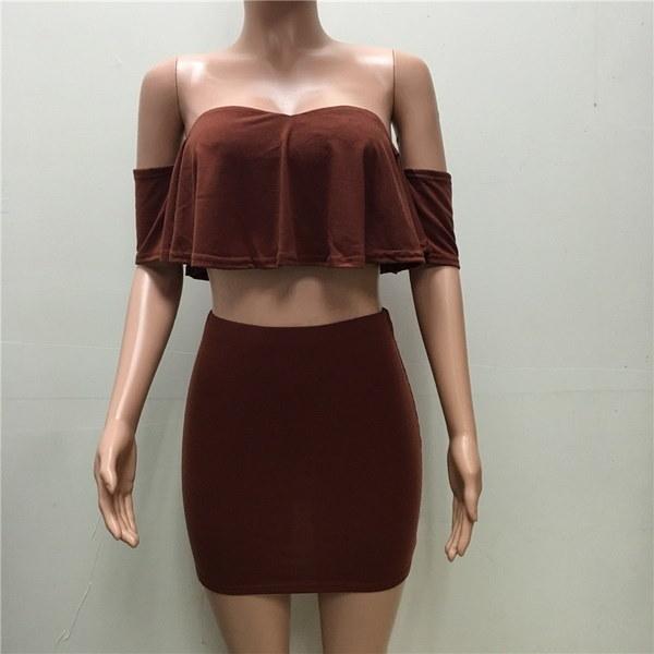 ファッション女性2ピーススーツセクシーなクロップトップとスカートClubwear Clothing
