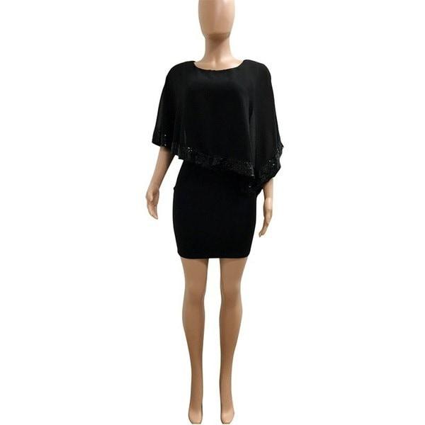 レディース夏セクシーなスプライシングスパンコールOネック半袖ドレススリムソリッドカラーパーティーウエディングドレス
