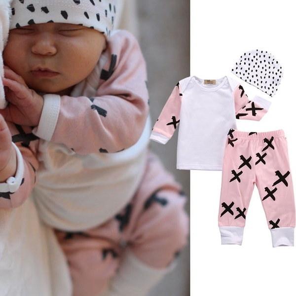 3本の新生児幼児の女の子の服ロングスリーブTシャツのトップスパンツの帽子の服装セット