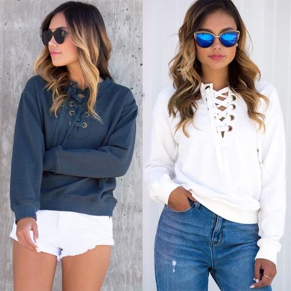 Women s Sports Personality Sweatshirt V-neck Lace Up Long Sleeve Bandage Hooded Hoodies