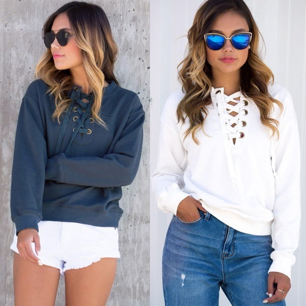 Women s Sports Personality Sweatshirt V-neck Lace Up Long Sleeve Bandage Hooded Hoodies