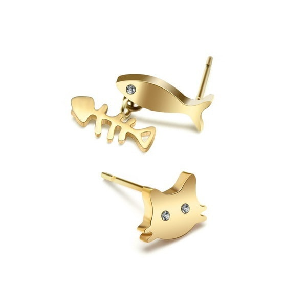 3色女性の猫と魚の耳スタッドイヤリングチタン鋼スターリングダイヤモンド