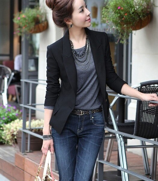 ファッションレディースワンボタンスリムカジュアルビジネスブレザースーツジャケットコートアウター