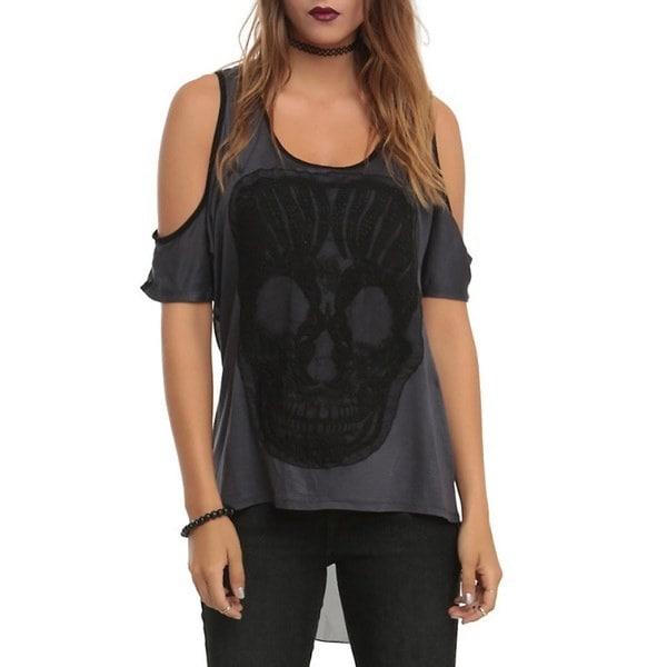 2017新しい女性のセクシーな頭蓋骨の視点Strapless不規則な裾のシャツ