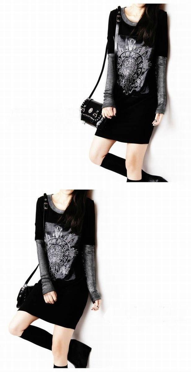 バロック!レトロなステッチ☆長袖 ドレス スリムパッケージ☆ ※納期に10日から14日ほどかかります。