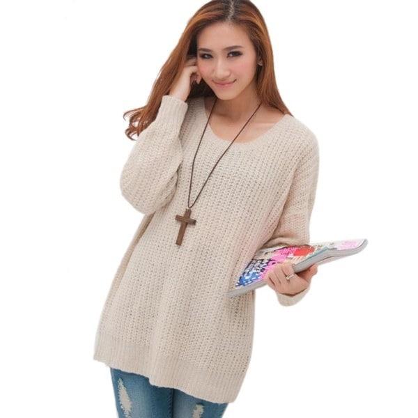 ファッション女性オーバーサイズニットバットウィングスリーブトッププルオーバーコートルーズアウターセーターファッション