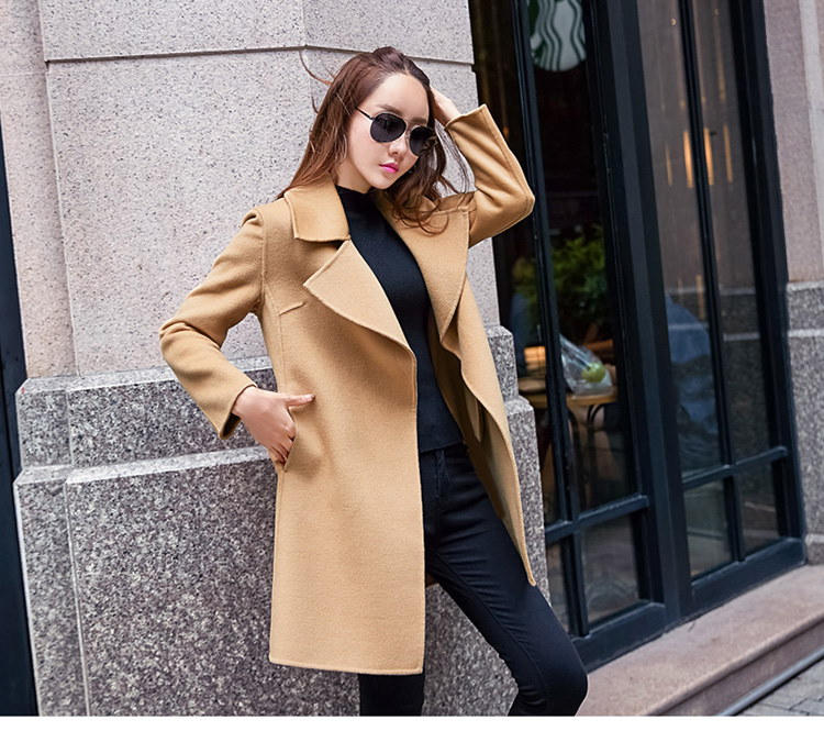 [55555SHOP]ラシャコート スリム レースアップ 防寒保暖 厚手 無地 ベルト付属 ファッション イギリススタイル