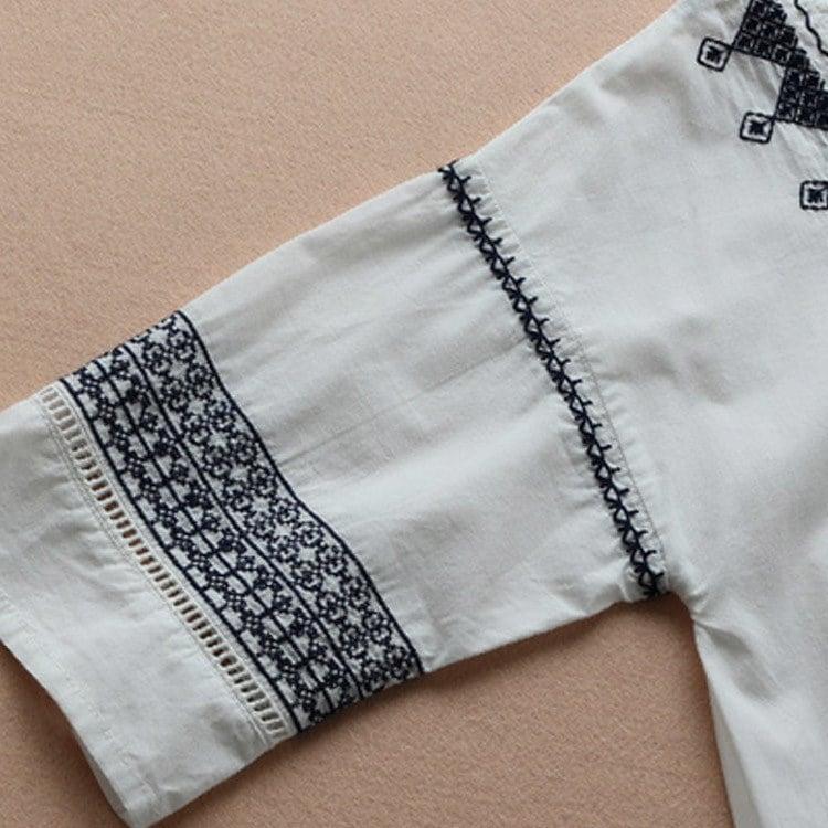 エスニック風 ワンピース Vネック フレアワンピース 刺繍 ワンピース ショート丈 ミニワンピース レディース