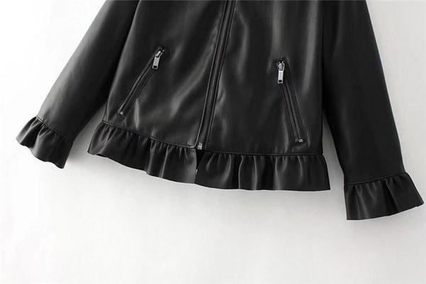 【即納】ジャケット レザー ライダース ショート丈 フリル Mサイズ