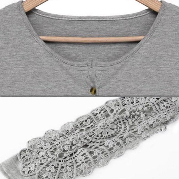 プラスサイズレディース刺繍レースクルーネックカジュアルトップ女性ストレッチシャツブラウス