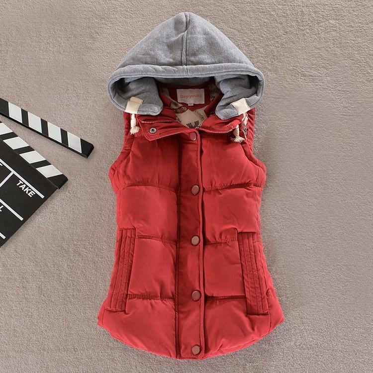 Gilet Veste Femme女性のベスト女性の女性のための暖かいノースリーブジャケットコットンソリッドフード付きのベスト