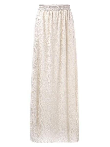 Jupe Femmes Dentelle Crochet Boho taille haute A-ligne longuecomplèteロングビーチMaxi jupe