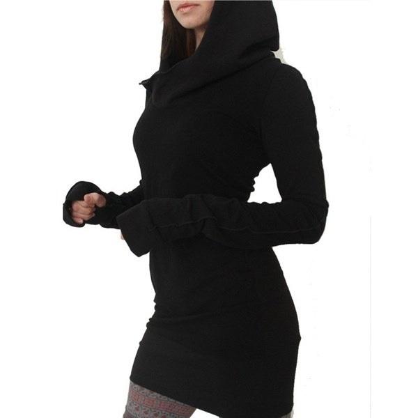 5XLプラスサイズS-5XLフード付きパーカースリムフィットプルオーバーセーターミニスカート女性秋ロングスリーブピュア