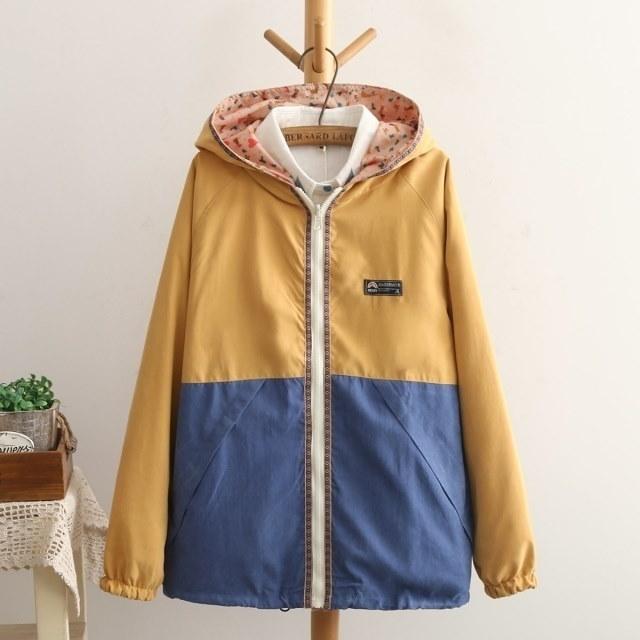 Tangada春のファッションの女性のダブルサイドパッチはフード付きジッパーポケットロングスリーブジャケット生き抜くカジュアルブランドBog01デザイン着用