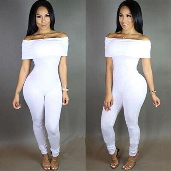 Sexy Women Bodycon Summer Off- Shoulder Jumpsuit Romper Slim Clubwear Bodysuit
