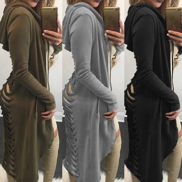 新しいファッション女性のパーカー秋と冬のフード付きセーターコート女性のカジュアルジャックロングカーディガン