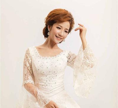 宮廷ドレス ウェディングドレス イブニングドレス プリンセス 長袖 水晶刺繍 花嫁礼服 ラッパ袖 XCQD48