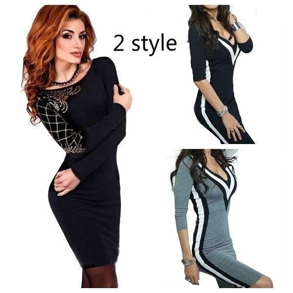 Womens Long Sleeve Bandage Jumper Ladies Sexy Black Mini Dress Top Size 6-18