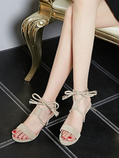 Fashion Solid Color Lace Up Stiletto Women s Sandals