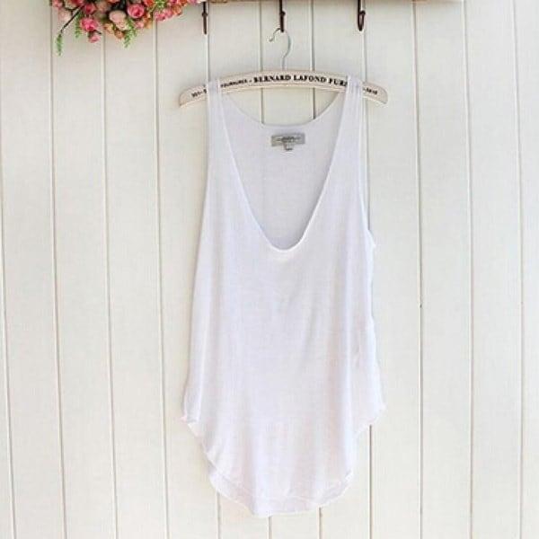 ワンダフルファッションサマーウーマンレディースノースリーブVネックキャンディーベストルーズタンクトップTシャツ