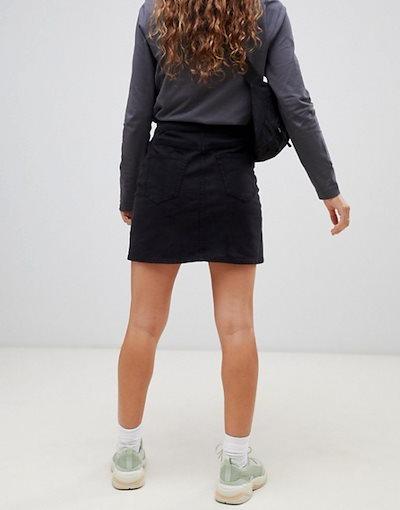 ウィークデイ レディース スカート ボトムス Weekday side button mini skirt in black