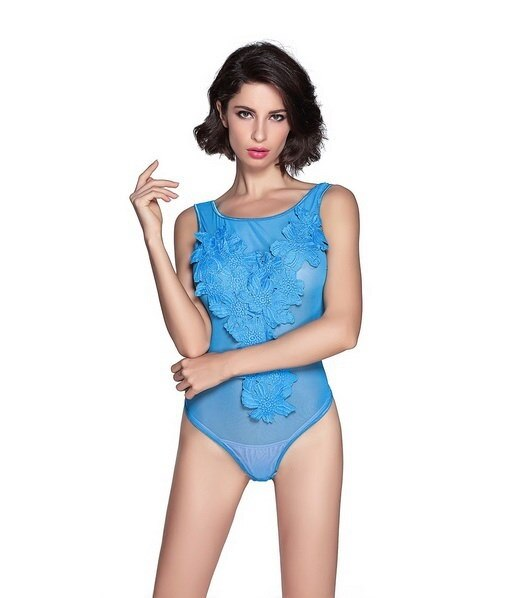 Hot!!!MODA LADY Floral Embroidered Sheer Mesh Bodysuit