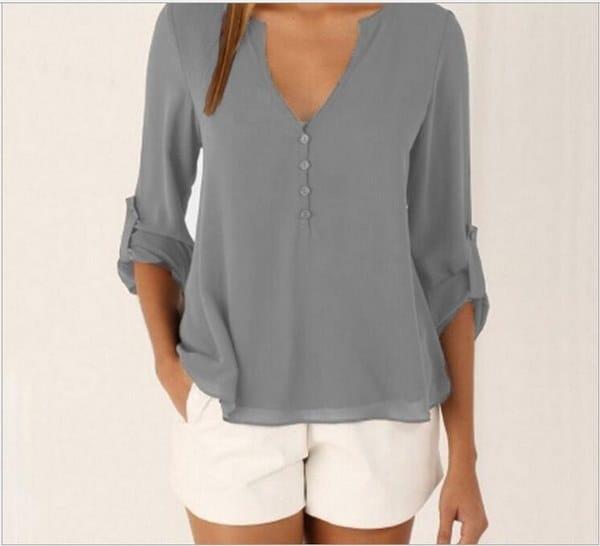 プラスサイズの女性シフォンVネックトップロングスリーブシャツカジュアルブラウスルーズTシャツ