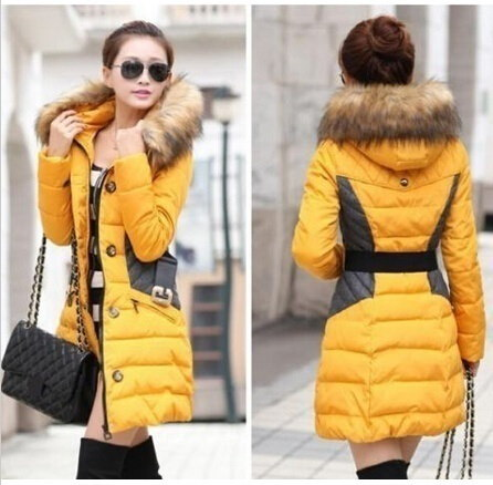 新しい女性のスリムダウンコットントレンチコートステッチフード付きパッド入りのジャケットベルト毛皮