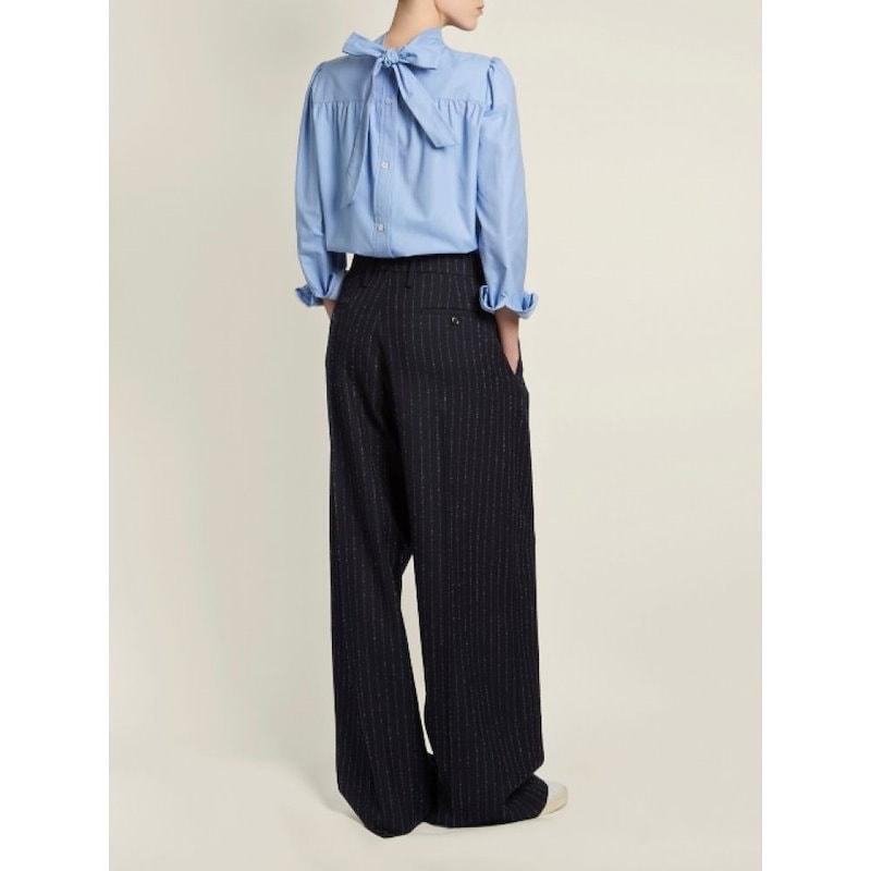 ゴールデン グース レディース トップス ブラウス・シャツ【Betta high-neck cotton-chambray shirt】Light-blue