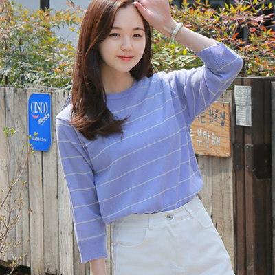 SUMMER KNIT! 今着たい!7分丈二ット 韓国ファッション GOGOSING 韓国ECサイト 2016年新作 韓国ブランド 6色ボーダー柄7分ニットP000BUNS
