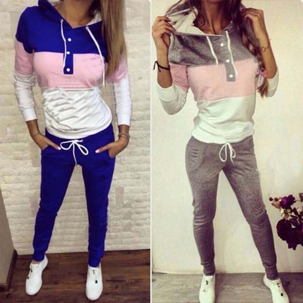 女性秋冬服セットファッションストライプパーカー&スウェットパンツ二ピーススポーツスーツ