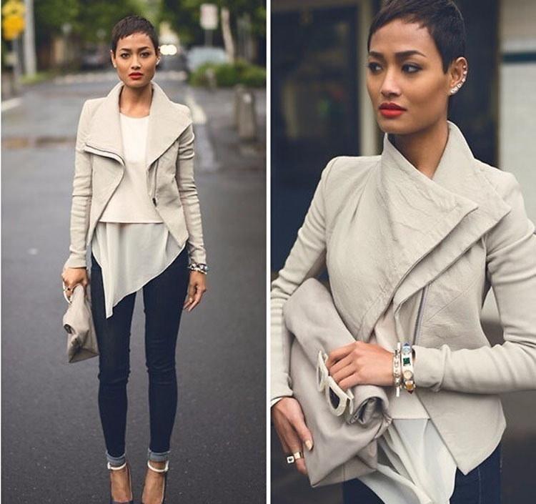 基本的なジャケットコートファッション長袖コロルレザージャケット女性スリムコートを下げます