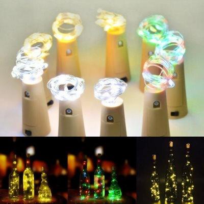 20 Led 2m銅ワイヤーストリングライトミニ妖精ナイトライトベッドルームランプワインボトルコルクライトウェディングパーティデコレーション