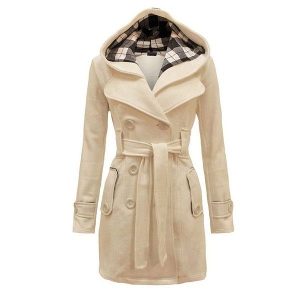 冬の女性暖かいフリースフード付きジャケットベルト付き
