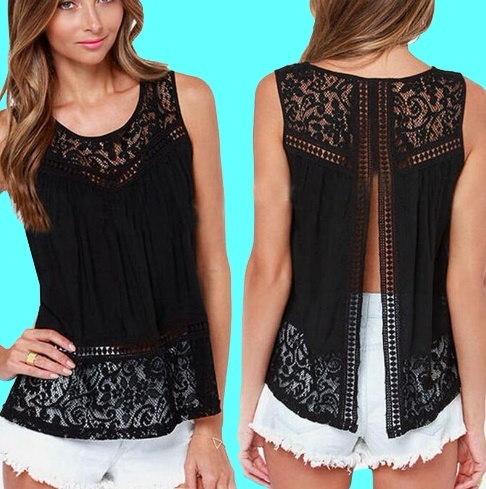 女性セクシーなTシャツノースリーブトップスベストブラウスレースシフォンかぎ針編みのカットアウト(プラスサイズ)