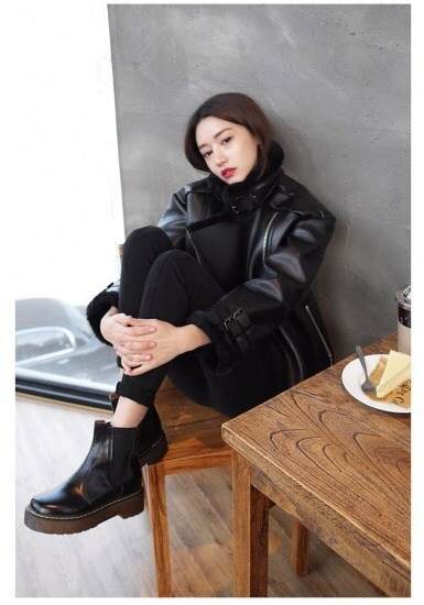 冬新作 異素材 ビッグシルエット ムートン+レザー調ジャケット 羽織り アウター ブラック