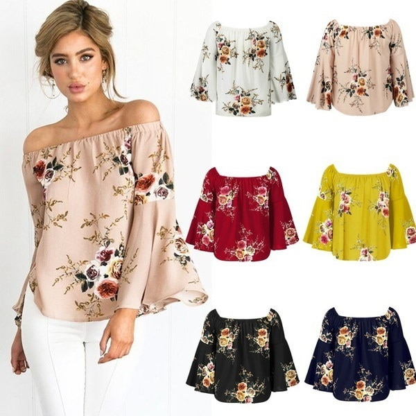 Women s Fashion Off Shoulder Floral Print Half Flare Sleeve Tops Blouse Sexy Strapless Backless Crop