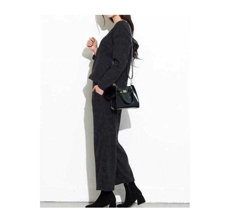 『韓国製』SELLISHOP 【上下セット】Ellin デイリースーツ「大きいサイズ 大人 韓国 ファッション・結婚式・フォマール 黒 フレア 30代 40代 50代 スレンダー・Aライン,シャツ・上