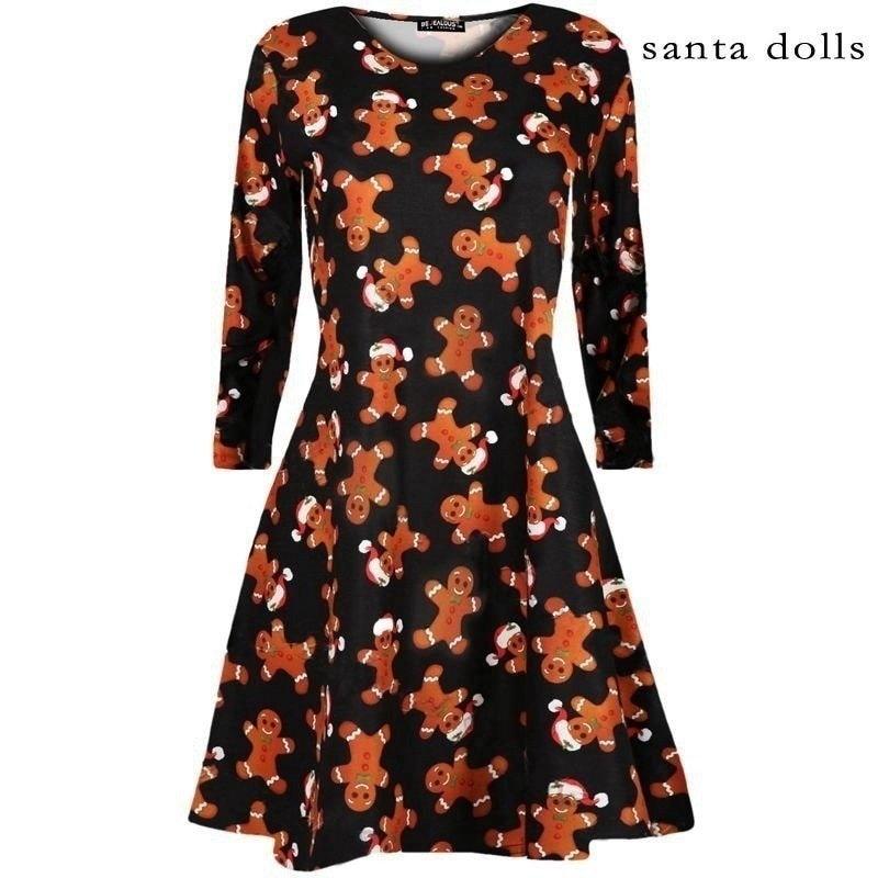 女性のファッションロングスリーブサンタスノーマンクリスマスパーティーフレアエレガントなドレス