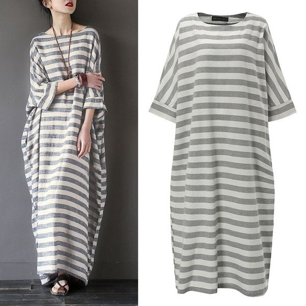 S-XXXXXL Women Boho Striped Long Sleeve Maxi Shirt Dress Kaftan Plus Size