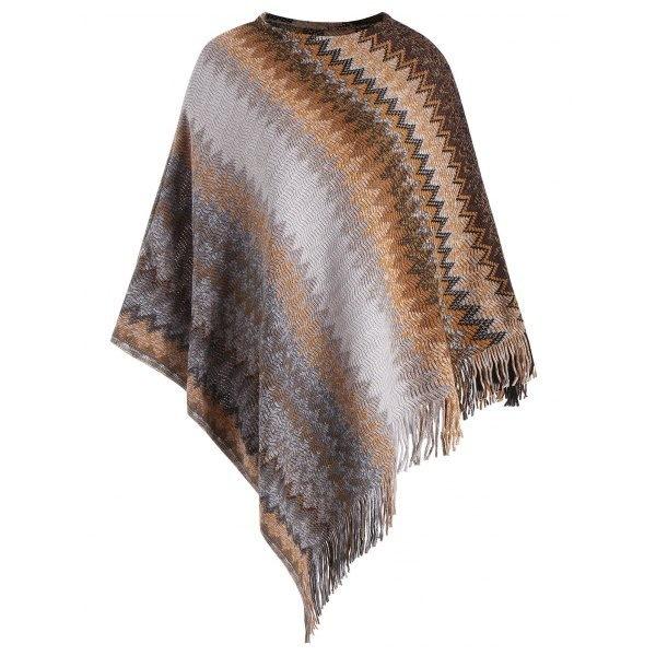 プラスサイズの女性のファッション多色フリンジングジグザクKniteedポンチョショールセーター