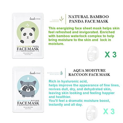 Lookatme Animal face mask - 12 Premium Cute Face Sheet Masks For Purifying, Energizing, Smoothing.