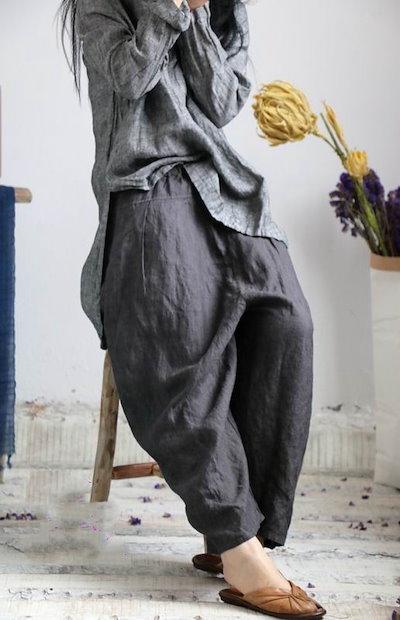 2019春  レディース  ワイドパンツ  ストライプ   亜麻  簡単  ゆったり  ファッション