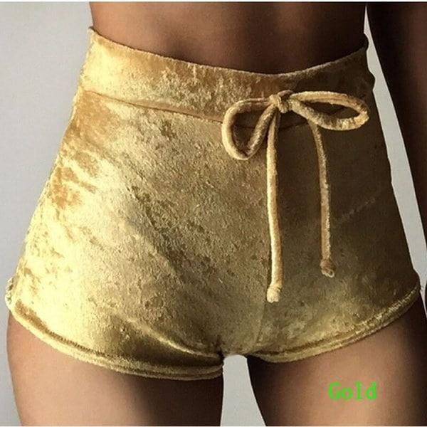 Women Velvet Shorts Casual High Waist Sexy Elegant Skinny Shorts
