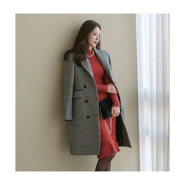 ロングコート レディース チェスターコート ウール混 チェック 40代 ファッション 2017 秋 新作 ES-4536