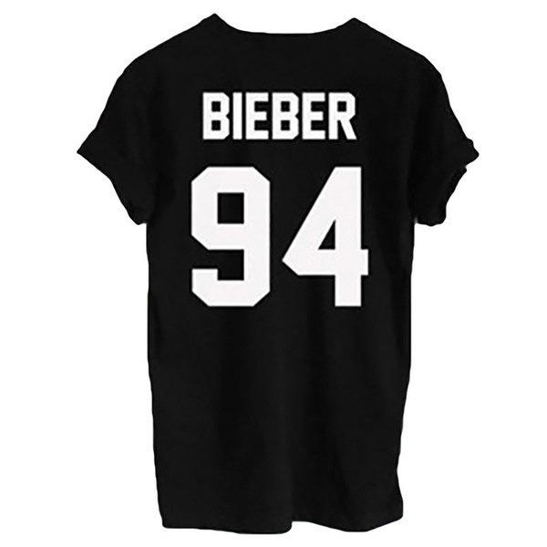 2017ジャスティンビーバー94バックプリントレター女性TシャツカジュアルシャツファニーレディーホワイトブラックZH