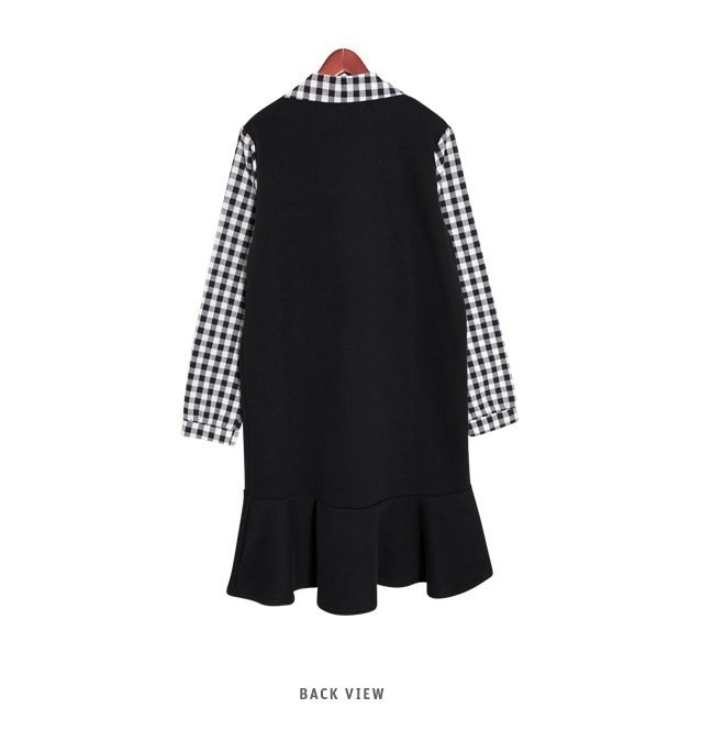 『韓国製』SELLISHOP  Check frill ワンピース「大きいサイズ 大人 韓国 ファッション・結婚式・フォマール 黒 フレア 30代 40代 50代 スレンダー・Aライン,シャツ・上品・