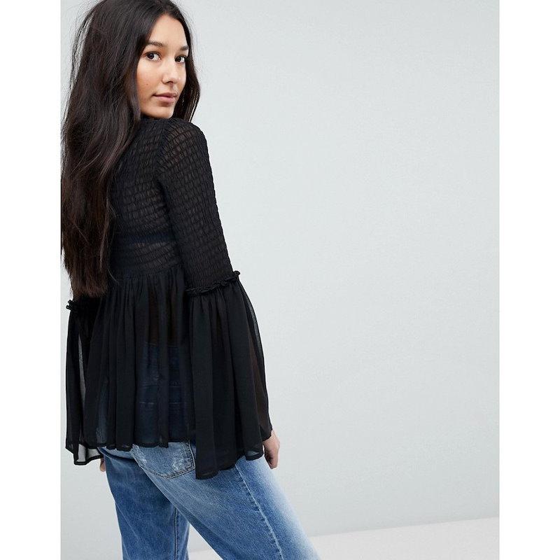 エイソス レディース トップス ブラウス・シャツ【ASOS TALL Shirred Blouse with Fluted Sleeve】Black