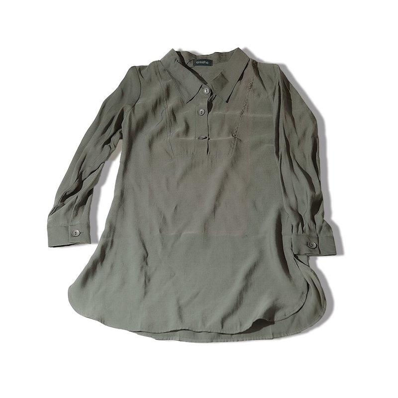 エアリーロングブラウス ゆるテロ シャツ ゆる ブラウス ロングシャツ シフォン ゆったり フォーマル とろみ レディース トップス 春 秋 オフィス OL